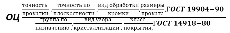 Лист оцинкованный формула